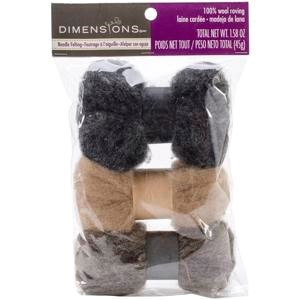 Picture of Dimensions Feltworks Roving Trio Pack 1.58oz-Neutrals