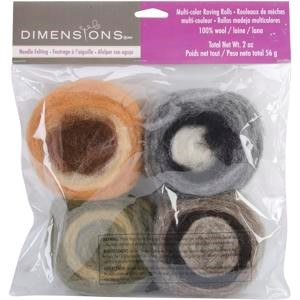 Picture of Dimensions Feltworks Roving Rolls 2oz 4/Pkg-Earth Tone