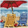 "Picture of Dimensions Mini Needlepoint Kit 5""X5""-Beach Chair Duo Stitched In Thread"