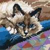 "Picture of Dimensions Mini Needlepoint Kit 5""X5""-Cuddly Cat Stitched In Floss"