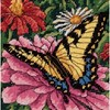 "Picture of Dimensions Mini Needlepoint Kit 5""X5""-Butterfly On Zinnia Stitched On Floss"