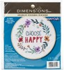 "Picture of Dimensions Embroidery Kit W/Hoop 6""-Choose Happy Stitched In Thread"