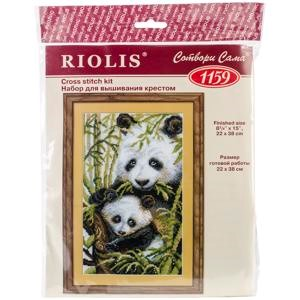 "Picture of RIOLIS Counted Cross Stitch Kit 8.75""X15""-Panda With Young (10 Count)"