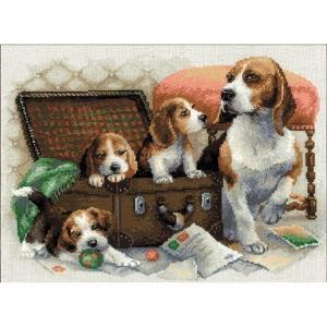 "Picture of RIOLIS Counted Cross Stitch Kit 15.75""X11.75""-Canine Family (14 Count)"