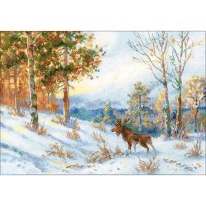 "Picture of RIOLIS Counted Cross Stitch Kit 15.75""X11""-Elk In A Winter Forest (14 Count)"