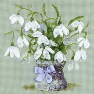 "Picture of RIOLIS Counted Cross Stitch Kit 7.75""X7.75""-Snowdrops(14 Count)"