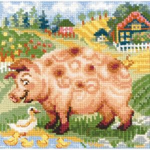 "Picture of RIOLIS Counted Cross Stitch Kit 7.75""X7.75""-The Farm Piglet (10 Count)"