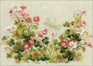 "Picture of RIOLIS Counted Cross Stitch Kit 11.8""X8.27""-Oxalis & Dragonfly (14 Count)"