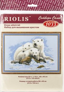 "Picture of RIOLIS Counted Cross Stitch Kit 23.62""X15.75""-Polar Bears (10 Count)"
