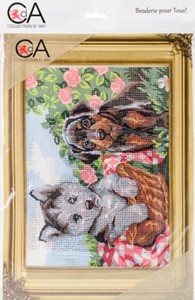 Picture of Collection D'Art Stamped Needlepoint Kit 22X30cm-Doggie Friends