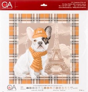 Picture of Collection D'Art Stamped Cross Stitch Kit 41X41cm-French Bulldog In Paris
