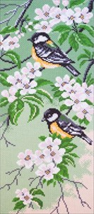 Picture of Collection D'Art Stamped Cross Stitch Kit 47x24cm-Titmouse Birds