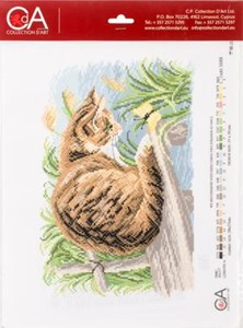 Picture of Collection D'Art Stamped Cross Stitch Kit 28X37cm-Cat With Butterfly