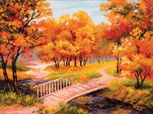 Picture of Collection D'Art Stamped Cross Stitch Kit 37X49cm-Autumn Landscape