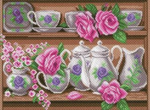 Picture of Collection D'Art Stamped Cross Stitch Kit 30x40cm-Rose Dinnerwear Set