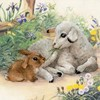 "Picture of RIOLIS Stamped Cross Stitch Kit 11.75""X11.75""-Lamb & Rabbit (10 Count)"