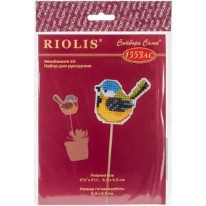 "Picture of RIOLIS Plastic Canvas Kit 2.5""X2""-Little Birdie Planter Stick (10 Count)"