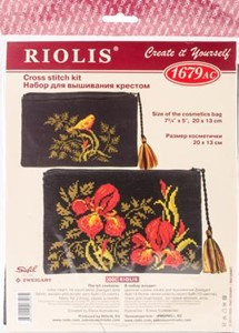 "Picture of RIOLIS Counted Cross Stitch Kit 7.75""X5""-Cosmetic Bag-Irises (14 Count)"