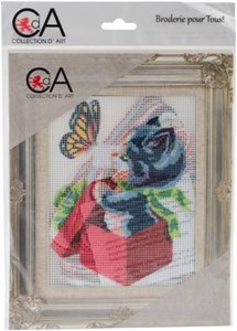 Picture of Collection D'Art Stamped Needlepoint Kit 20X25cm-Kitten And Butterfly