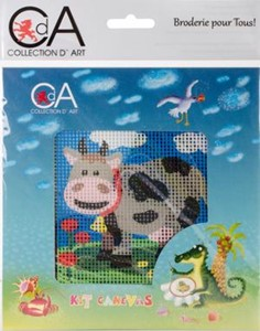 Picture of Collection D'Art Stamped Needlepoint Kit 15X15cm-Cow