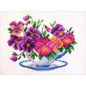 Picture of Collection D'Art Stamped Cross Stitch Kit 23X28cm-Viola In Bowl