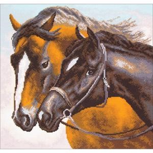 Picture of Collection D'Art Stamped Cross Stitch Kit 41X41cm-Horses