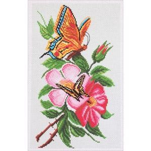 Picture of Collection D'Art Stamped Cross Stitch Kit 28X37cm-Butterfly On Flower