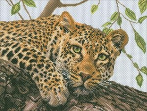 Picture of Collection D'Art Stamped Cross Stitch Kit 37X49cm-Leopard (14 Count)