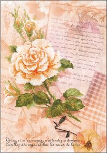 "Picture of RIOLIS Stamped Cross Stitch Kit 8.25""X11.75""-Love Letters Rose (14 Count)"