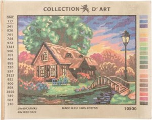 Picture of Collection D'Art Needlepoint Printed Tapestry Canvas 40X50cm-Cottage By The River