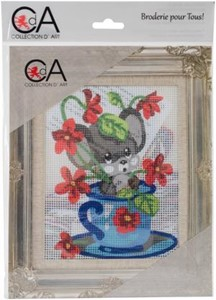Picture of Collection D'Art Stamped Needlepoint Kit 20X25cm-Mouse In Cup