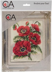 Picture of Collection D'Art Stamped Needlepoint Kit 20X25cm-Poppies
