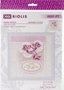 "Picture of RIOLIS Stamped Cross Stitch Kit 8.25""X8.25""-Baby Girl Booties"