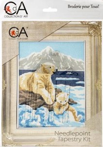 Picture of Collection D'Art Stamped Needlepoint Kit 14X18cm-White Bears