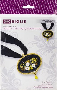 "Picture of RIOLIS Counted Cross Stitch Kit 2.75""X2.75""-Pendant White Rose"