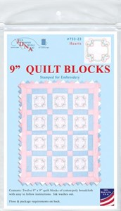 "Picture of Jack Dempsey Stamped White Quilt Blocks 9""X9"" 12/Pkg-Hearts"