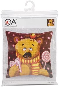 Picture of Collection D'Art Stamped Needlepoint Cushion Kit 40X40cm-Candy Teddy - Pink Background