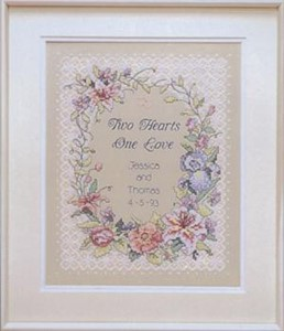 "Picture of Dimensions Stamped Cross Stitch Kit 11""X14""-Two Hearts Wedding Record"