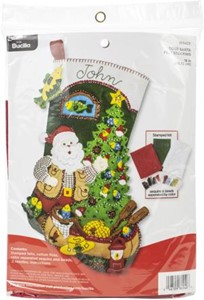 "Picture of Bucilla Felt Stocking Applique Kit 18"" Long-Lodge Santa"