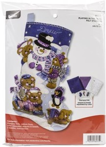 "Picture of Bucilla Felt Stocking Applique Kit 18"" Long-Playing In The Snow"