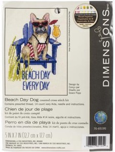 "Picture of Dimensions Counted Cross Stitch Kit 7""X5""-Beach Day Dog (14 Count)"
