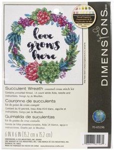 "Picture of Dimensions Counted Cross Stitch Kit 6""X6""-Succulent Wreath (14 Count)"