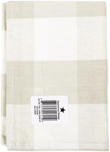 "Picture of Dunroven House Flat Weave Tea Towel 20""X28""-Natural & Cream 3"" Check"