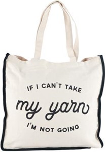 "Picture of Lion Brand Canvas Tote Bag 14.5""X5""X15""-If I Can't Take My Yarn I'm Not Going"