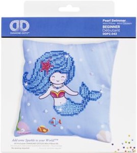 "Picture of Diamond Dotz Diamond Embroidery Mini Pillows 7""X7""-Pearl Swimmer"