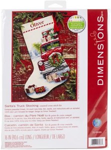 "Picture of Dimensions Counted Cross Stitch Kit 16"" Long-Santa's Truck Stocking"