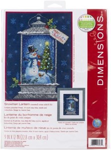 "Picture of Dimensions Counted Cross Stitch Kit 9""X12""-Snowman Lantern (14 Count)"