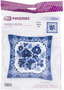 "Picture of RIOLIS Cushion Counted Cross Stitch Kit 15.75""X15.75""-Gzhel Painting (14 Count)"