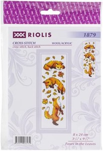 "Picture of RIOLIS Counted Cross Stitch Kit 3.25""X9.5""-Foxes In The Leaves (14 Count)"
