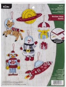 Picture of Bucilla Felt Ornaments Applique Kit Set Of 6-Rocket Ship Santa